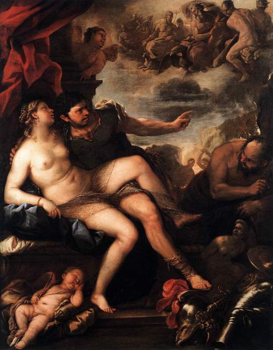 Ares and Aphrodite caught by Hephaestus - Mars and Venus caught by Vulcan VenruGIORDANO, Luca