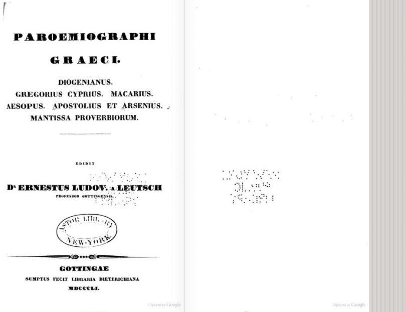 Corpus Paroemiographorum Graecorum, Ernst von Leutsch - Friedrich Wilhelm Schneidewin, Vanderhoeck et Ruprecht